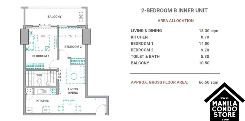 DMCI Homes The Crestmont Panay South Triangle Quezon City Condo 2-bedroom unit B