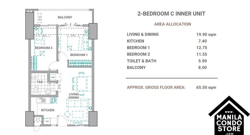 DMCI Homes The Crestmont Panay South Triangle Quezon City Condo 2-bedroom unit C