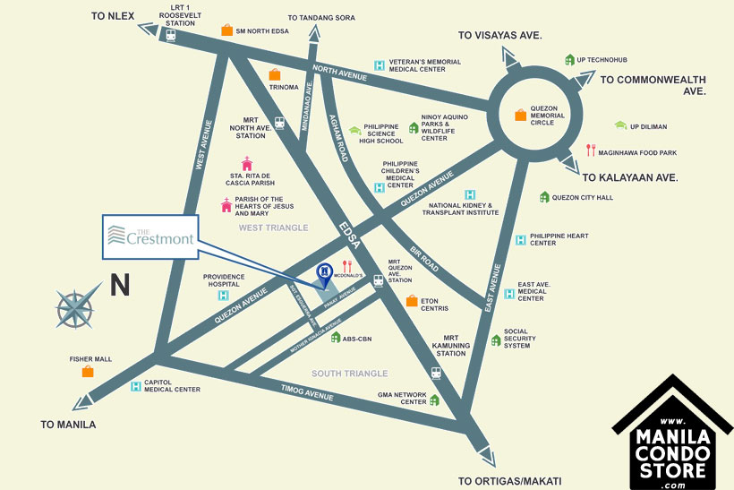 DMCI Homes The Crestmont Panay South Triangle Quezon City Condo Location Map