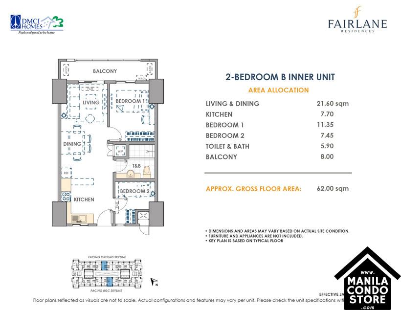 DMCI Homes FAIRLANE Residences Kapitolyo Pasig Condo 2-bedroom unit
