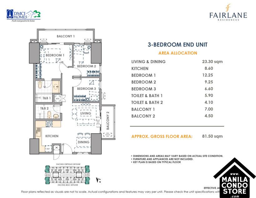 DMCI Homes FAIRLANE Residences Kapitolyo Pasig Condo 3-bedroom unit