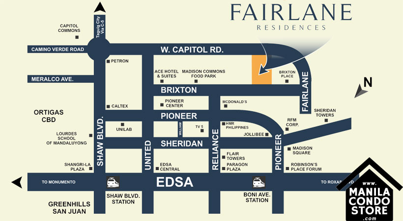 DMCI Homes FAIRLANE Residences Kapitolyo Pasig Condo Location Map
