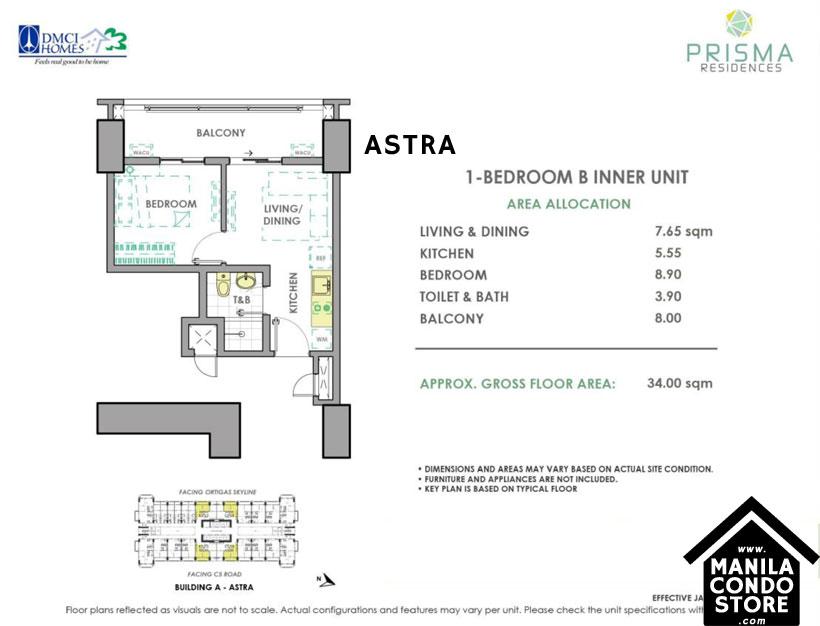 DMCI Homes PRISMA Residences Bagong Ilog Pasig Condo 1-bedroom unit