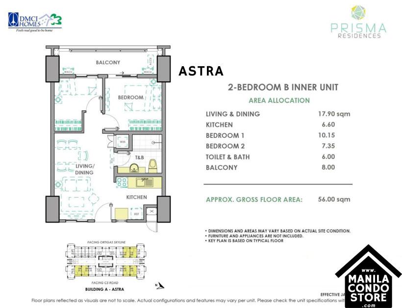 DMCI Homes PRISMA Residences Bagong Ilog Pasig Condo 2-bedroom unit