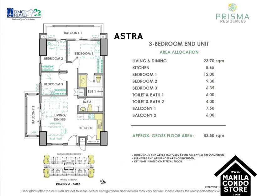 DMCI Homes PRISMA Residences Bagong Ilog Pasig Condo 3-bedroom unit