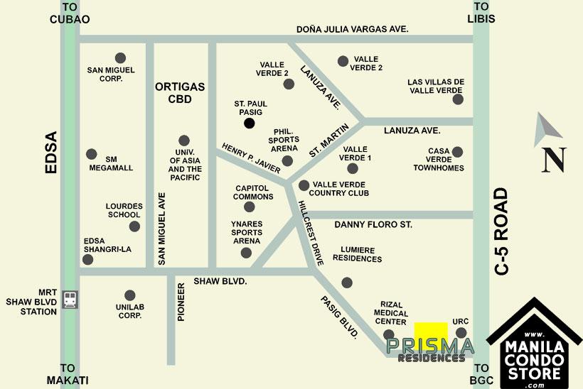 DMCI Homes PRISMA Residences Bagong Ilog Pasig Condo Location Map