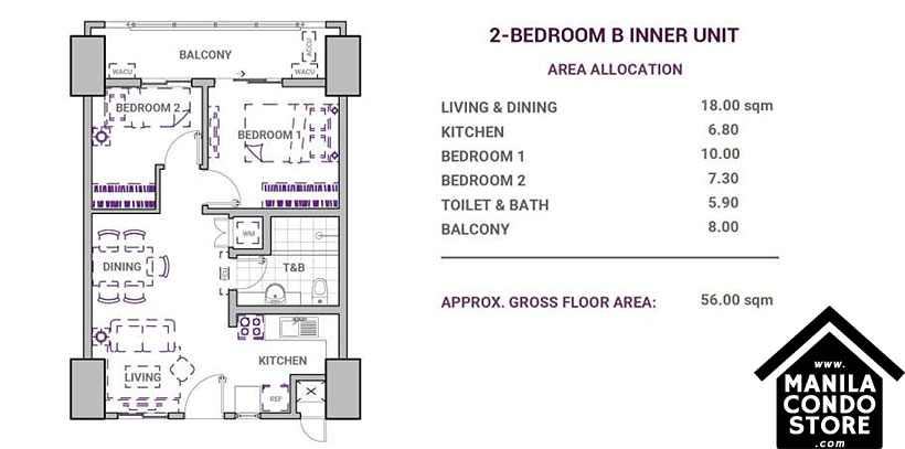DMCI Homes Sonora Garden Residences Robinsons Las Pinas Condo 2-bedroom B