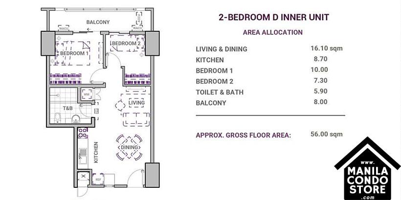 DMCI Homes Sonora Garden Residences Robinsons Las Pinas Condo 2-bedroom D