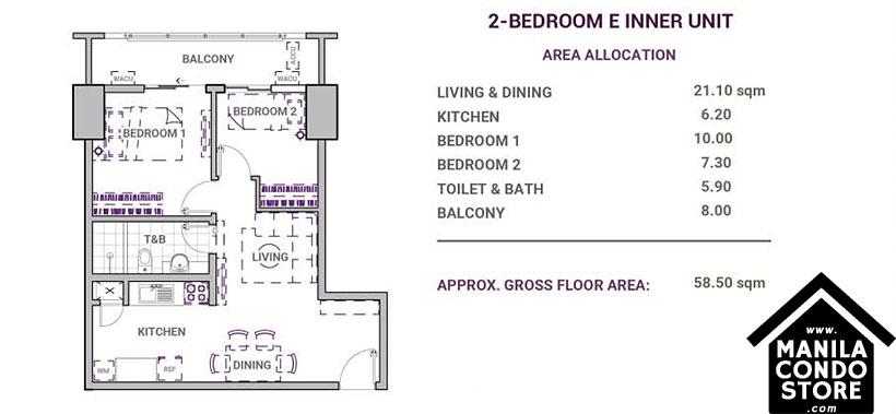 DMCI Homes Sonora Garden Residences Robinsons Las Pinas Condo 2-bedroom E