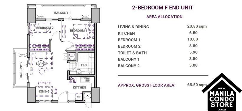 DMCI Homes Sonora Garden Residences Robinsons Las Pinas Condo 2-bedroom F