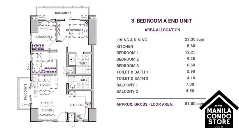 DMCI Homes Sonora Garden Residences Robinsons Las Pinas Condo 3-bedroom A
