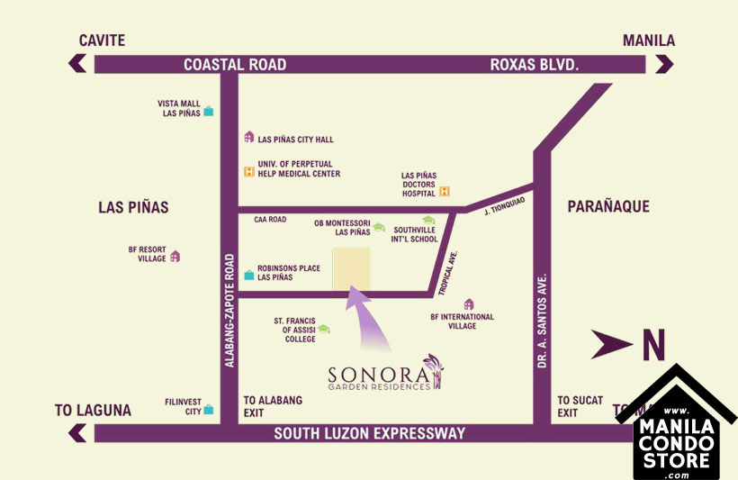 DMCI Homes Sonora Garden Residences Robinsons Las Pinas Condo Location Map