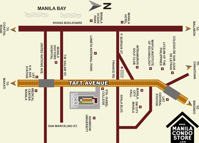 DMCI Homes TORRE DE MANILA Taft Ermita Manila Condo Location Map