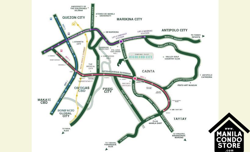 Empire East Highland City Residences Felix Avenue Cainta Rizal Condo Location Map
