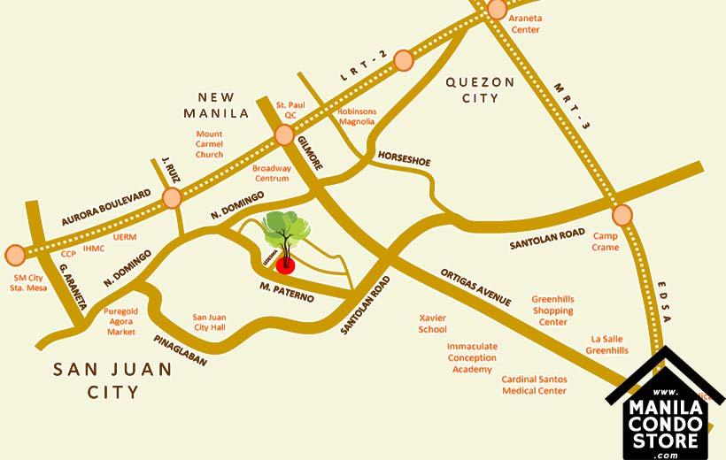 Empire East Mango Tree Residences San Juan City Condo Location Map