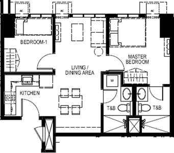 Empire East Mango Tree Residences San Juan City Condo West 2-bedroom unit