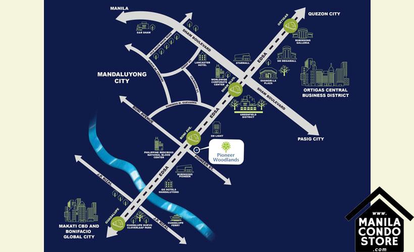 Empire East Pioneer Woodlands Boni MRT Mandaluyong City Condo Location Map