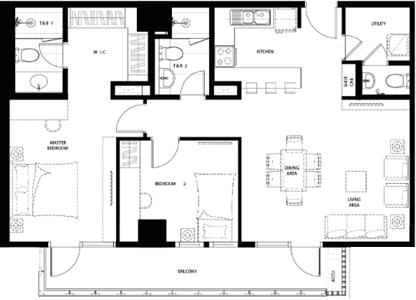 Federal Land Grand Midori Ortigas Condo 2-bedroom unit F