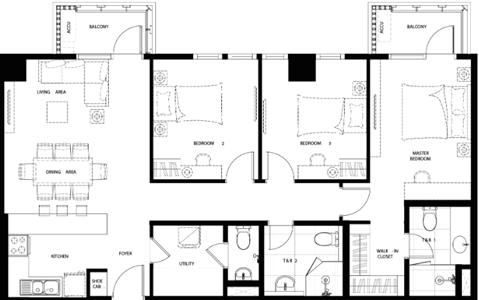 Federal Land Grand Midori Ortigas Condo 3-bedroom unit E