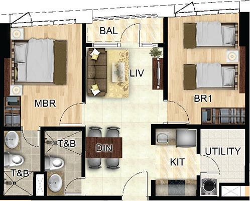 Federal Land One Wilson Square Greenhills San Juan Condo 2-bedroom unit