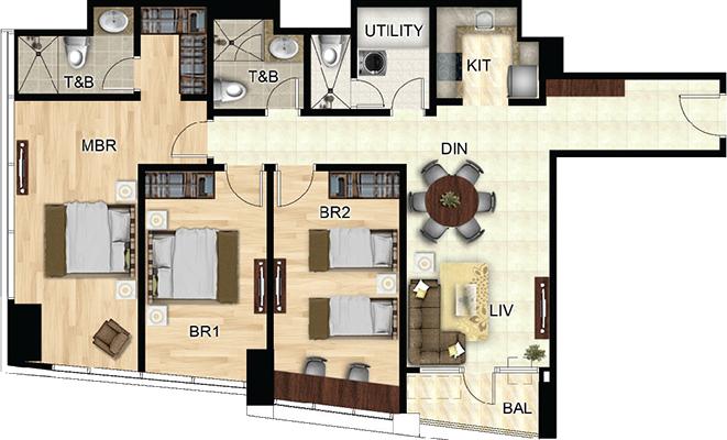 Federal Land One Wilson Square Greenhills San Juan Condo 3-bedroom unit