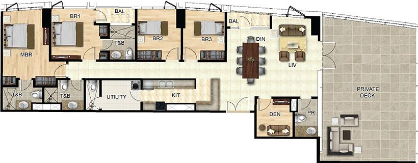 Federal Land One Wilson Square Greenhills San Juan Condo 4-bedroom unit