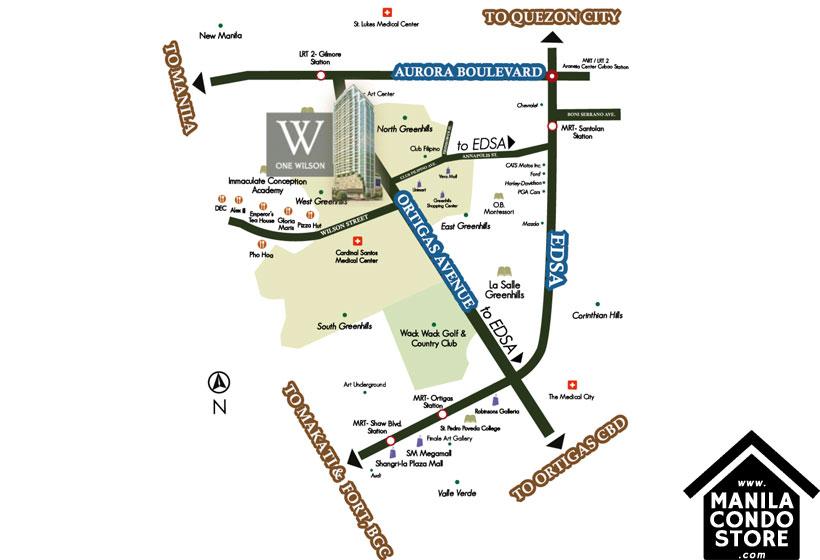 Federal Land One Wilson Square Greenhills San Juan Condo Location Map