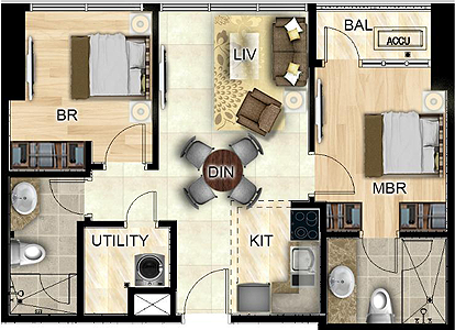 Federal Land Park Avenue BGC Taguig Condo 2-bedroom unit