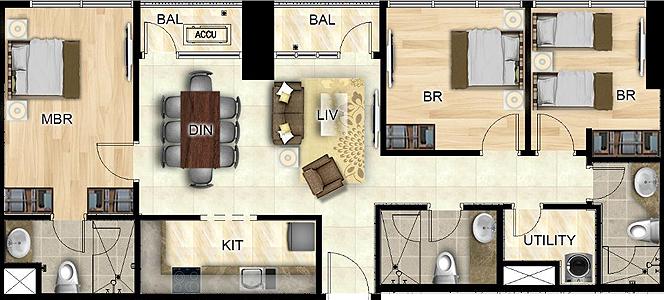 Federal Land Park Avenue BGC Taguig Condo 3-bedroom unit