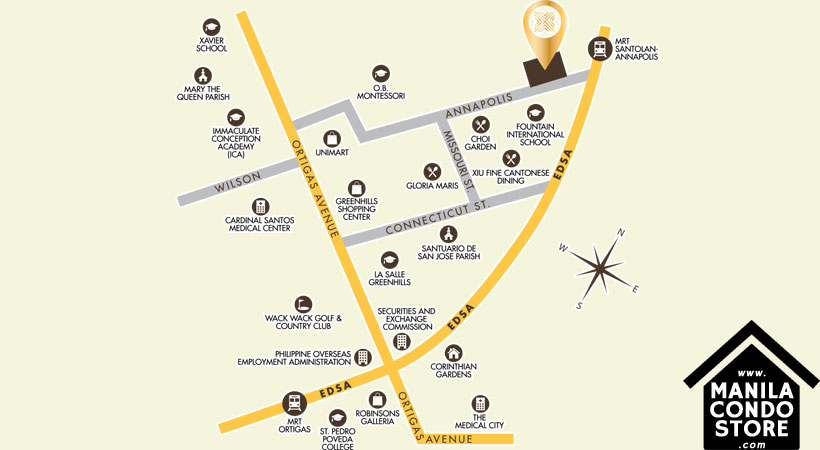 Grand Taipan Verano Greenhills San Juan Condo Location Map