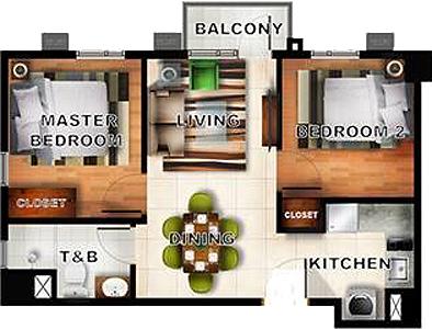 Horizon Land Siena Towers Marikina Condo 2-bedroom unit with balcony