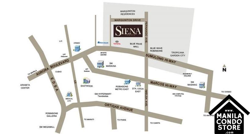 Horizon Land Siena Towers Marikina Condo Location Map