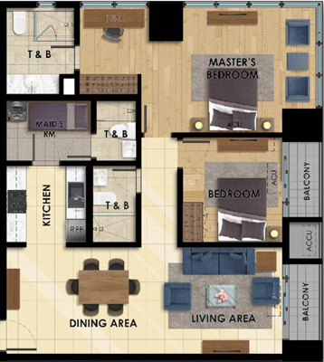 Megaworld The FIFTH Renaissance Ortigas Pasig Condo 2-bedroom unit with balcony