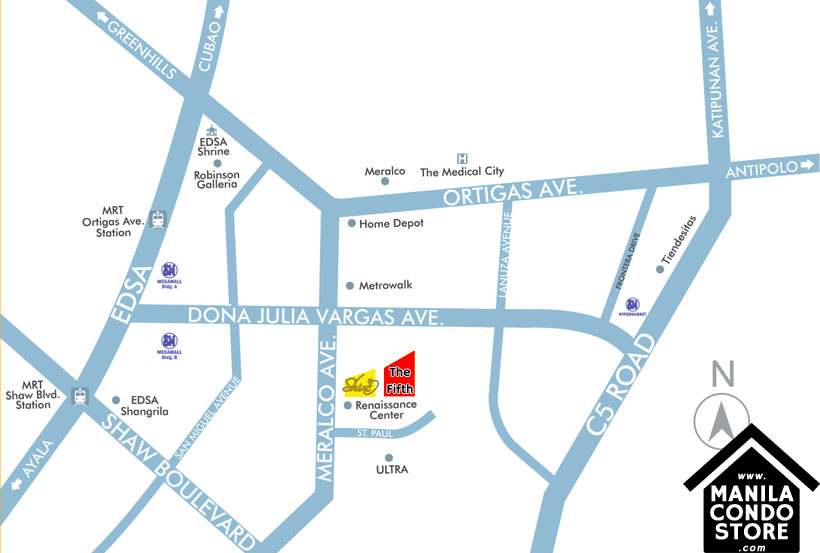 Megaworld The FIFTH Renaissance Ortigas Pasig Condo Location Map