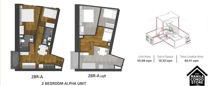 PH1 World Developers My Enso Lofts Timog Avenue Quezon City Condo 2-bedroom unit A