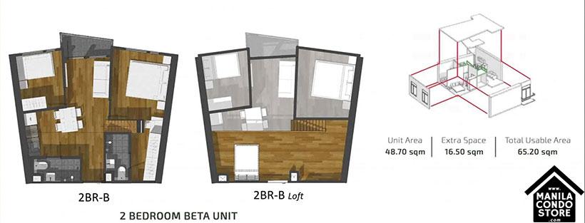 PH1 World Developers My Enso Lofts Timog Avenue Quezon City Condo 2-bedroom unit B