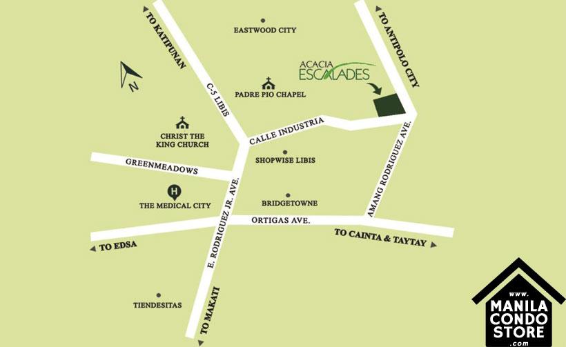 Robinsons Communities Acacia Escalades Manggahan Pasig Condo Location Map