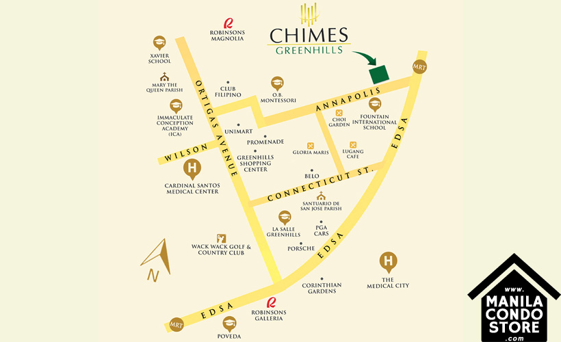 Robinsons Communities The Chimes Greenhills San Juan Condo Location Map