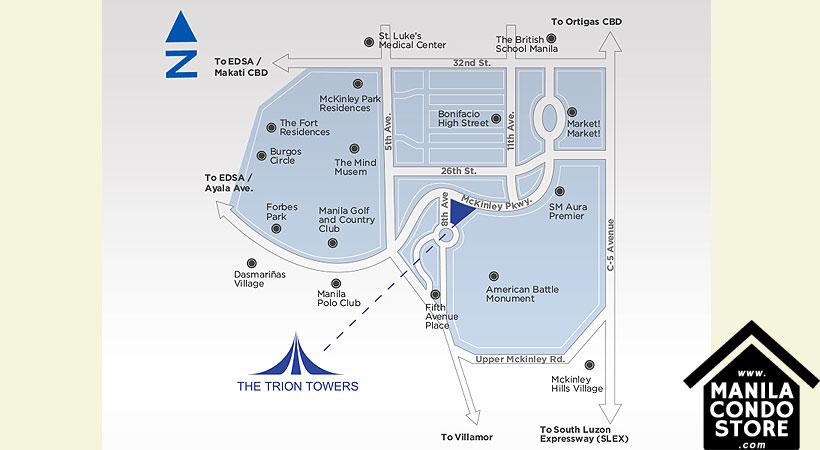 Robinsons Residences Trion Towers BGC Taguig Condo Location Map