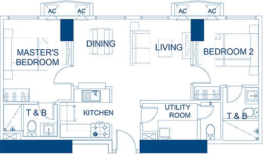 Robinsons Residences The Sapphire Bloc Ortigas Pasig Condo 2-bedroom unit