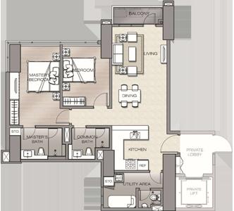 Robinsons The Velaris Residences Bridgetowne Rosario Pasig Condo 2-bedroom suite