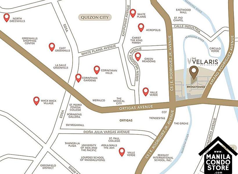 Robinsons The Velaris Residences Bridgetowne Rosario Pasig Condo Location Map