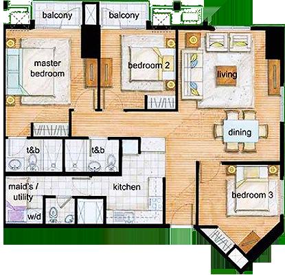 Rockwell Land The Grove C5 Ortigas Pasig Condo 3-bedroom unit
