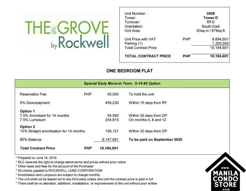 Rockwell Land The Grove C5 Ortigas Pasig Condo Sample Computation