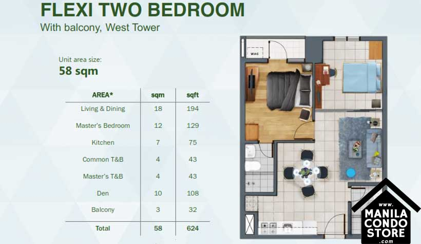 Rockwell Primaries The VANTAGE Kapitolyo Pasig Condo West Tower 2-bedroom unit