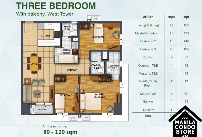 Rockwell Primaries The VANTAGE Kapitolyo Pasig Condo West Tower 3-bedroom unit