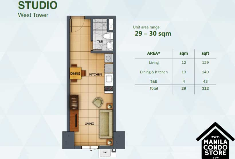 Rockwell Primaries The VANTAGE Kapitolyo Pasig Condo West Tower Studio unit