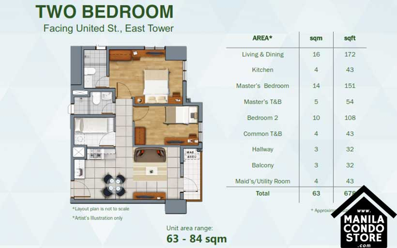 Rockwell Primaries The VANTAGE Kapitolyo Pasig Condo East Tower 2-bedroom unit