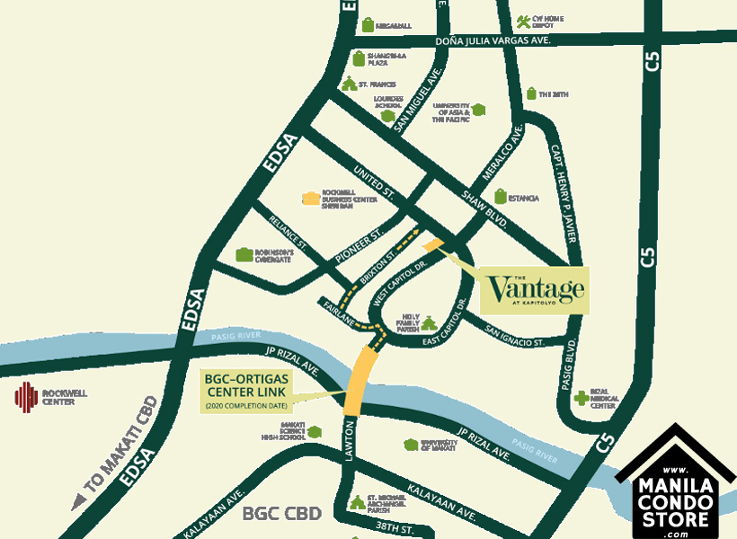Rockwell Primaries The VANTAGE Kapitolyo Pasig Condo Location Map
