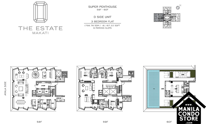 SMDC Federal Land The Estate Makati Ayala Ave Condo Super penthouse D 3-bedroom unit
